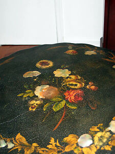 Antique Paper Mache Tilt Top Round Table W Mother Of Pearl Inlays