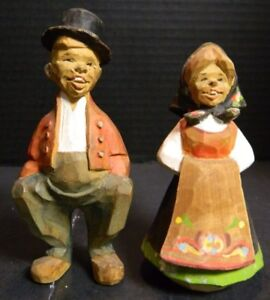 Vintage Hand Carved Henning Carvings Norway Man Woman 5 43 X 2 5 Very Good