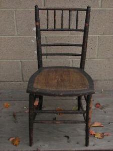 Antique Furniture Wood Chair Bamboo Seat