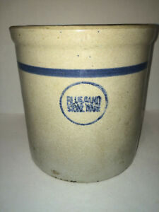Vintage Blue Band Stoneware Crock Measures 8 Tall With 7 5 8 Opening