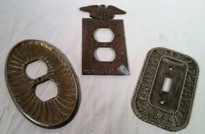 3 Vtg Brass Tone Cast Metal Hollywood Regency Light Switch Wall Outlet Covers