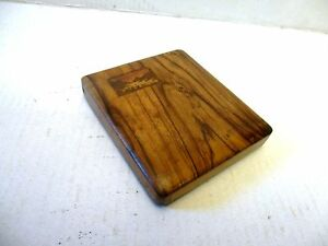 Vintage Olive Wood Card Case Marked Jerusalem