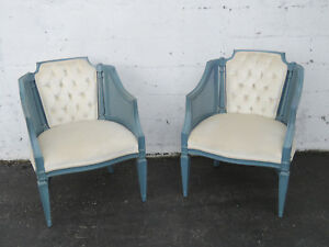 French Caned Barrel Shape Painted Pair Of Living Bed Room Side Chairs 9188