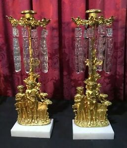 Pair Of Vintage Antique Victorian Girandole Candelabra With Beautiful Prisms