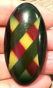 Vintage Button X Large Oval Plaid Celluloid Bubble Red Green Yellow Black