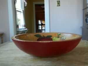 Antique Primitive Wooden Dough Bowl Wood Munising Old Red Paint
