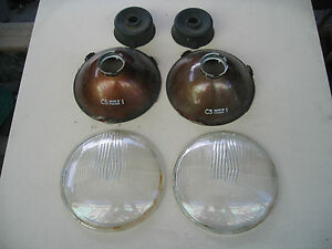 Cibie 7 Round Vintage Lead Glass H 4 Headlamps Circa 1970 Glass Excellent