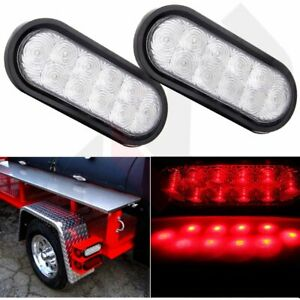 2x Universal 6 Oval Stop Turn Tail Light Clear Len Red 10 Led For Trailer Truck