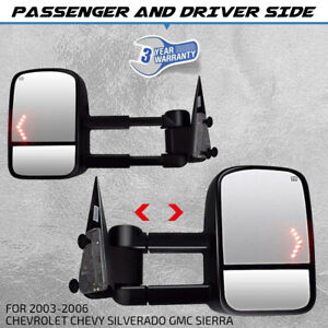Tow Mirror Power Heated Arrow Signal Black 2x Set For Gm Pickup Suv New