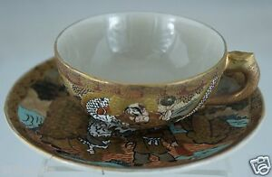 Antique Japanese Cup Saucer Set Satsuma Moriage Holy Man Dragon Gold Porcelain