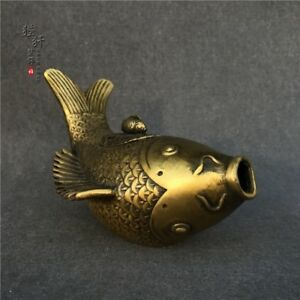 Antiques China Bronze Handmade Fengshui Lucky Fish Incense Burners Statue Sl