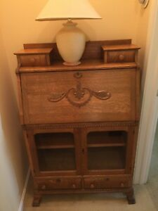 Antique Oak Drop Front Secretary Desk With Hutch Style Shelf On Top