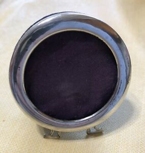 Vintage Minature Sterling Silver Round Picture Frame 2 1 2 In Diameter