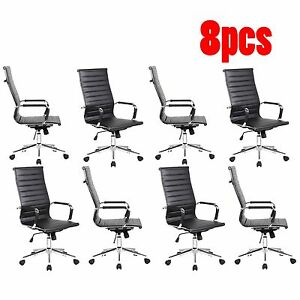 Set Of 8 High Back Black Ribbed Upholstered Pu Leather Executive Office Chair