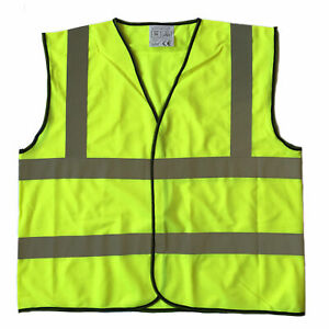 Xxl Size High Visibility Neon Yellow Safety Vest With Reflective Strips Ansi