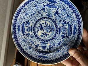 Antique Chinese Blue And White Figural Plate Possibly Kangxi Period 6