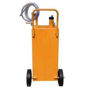 30 Gallon Gas Fuel Diesel Caddy Transfer Tank Container W Rotary Pump And Wheel