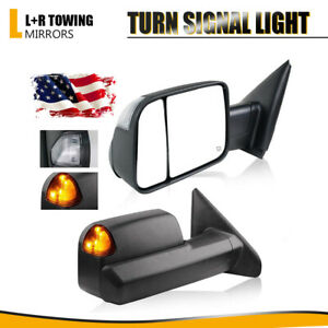 For 2002 2008 Dodge Ram 1500 2500 3500 Towing Mirrors Power Heated Turn Signals