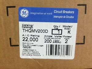 Ge Thqmv200d 200 Amp 120 240v 2pole Circuit Breaker New In Factory Sealed Box