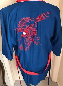 Chinese Dragon Short Robe Navy Red Medium Plum Blossom Kimono
