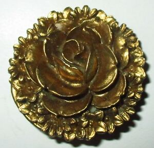 Lg Antique Vintage Gold Buffed Celluloid Blooming Rose Flower Button 1 1 4