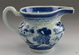 Fine Mid 1800s Chinese Export Canton Blue White Snout Nose Creamer Pitcher