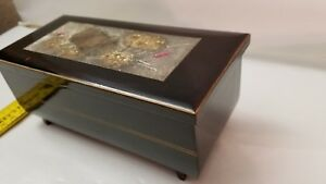 Antique Vintage Japanese Black Lacquer Box Inlaid Gold And Silver Plate Red
