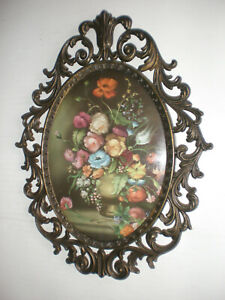 Vintage Floral Picture Ornate Oval Metal Frame Convex Bubble Dome Glass Wall Dec