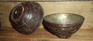 2 Matching Antique Chinese China Asian Carved Coconut Shell Bowl Pair Set 3