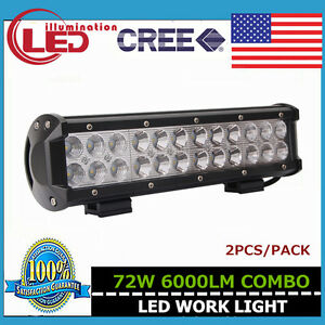 2x12inch 72w Led Work Light Bar Suv Boat Driving Lamp Flood Spot Offroad 4wd Ute