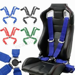 Adjustable Retractable 4 Point Racing Safety Harness Camlock Strap Seat Belt Ca