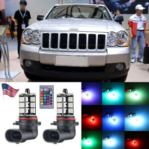 2x Wireless 7color Rgb 27smd Led Fog Driving Light For Jeep Grand Cherokee 99 10