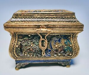 19th Century Antique Chinese Silver Mesh And Enamel Cricket Box