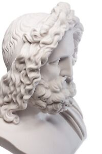 Marble Zeus Bust Large King Of The Greek Gods Classical Sculpture Art Gift