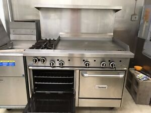 Garland Commercial Flat Top Griddle And Range With Ovens