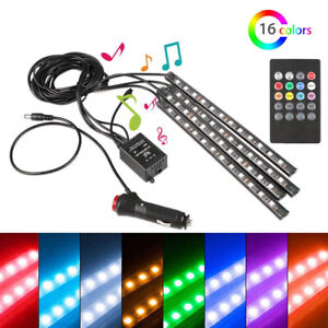4 Rgb 12led Strips 8 Colors Remote Control Car Interior Floor Atmosphere Light
