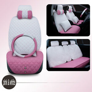 Lady Fashion Car Full Cushion Set Girl Pink White Soft Comfortable Seat Cushion