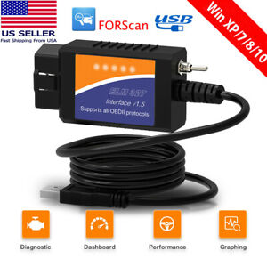 Elm327 Ford Forscan Usb Adapte Obd2 Scanner Automotive Code Reader Ms Can Hs Can