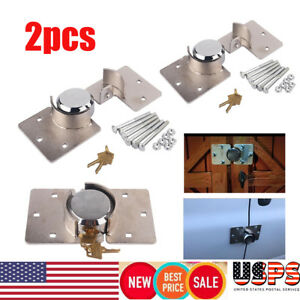 2pcs Steel Van Garage Shed Door Security Padlock Hasp Kit Heavy Duty Lock 2keys