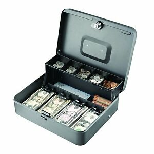 Steel Cantilever Cash Jewelry Box Gray 5 Compartments Drawers Money Tray New
