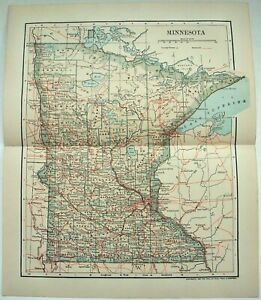 Original 1903 Map Of Minnesota By Dodd Mead Company Antique