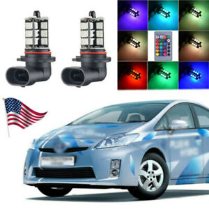For Toyota Prius 2004 2009 Wireless Ir Remote Multi Color Rgb Led Fog Lights 2x
