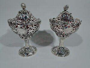 Victorian Compotes Antique English Sterling Silver Red Glass Angell 1845 8