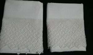 Antique Linen White Pillowcases Set Of 2 Hand Crochet Edge 21 5 X 37