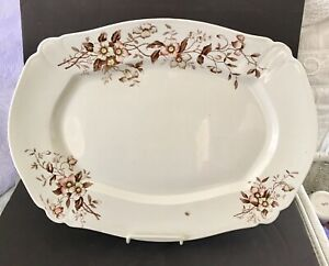 Pretty Antique J G Meakin Brown Transferware Ironstone Platter Dogwood Blossoms