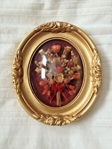 Vintage Wood Picture Frame Oval Convex Bubble Ornate W Dried Flowers 4 7 8