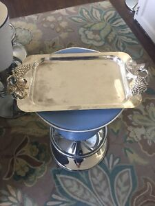 Vintage Rectangular Silver Plated Serving Tray Platter Grape Design On Handles