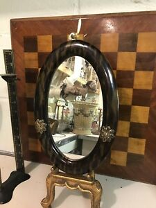 Antique Mirror Faux Tortoise Shell Celluloid Oval Wall Mirror Wood Back
