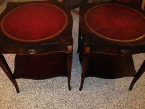 Early Pr Of Stickley Signed End Tables Leather Tops Gilt Embossing Brass Pulls