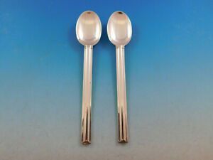 Cannes By Puiforcat France Sterling Silver Flatware Pair Of 2 Teaspoons 6